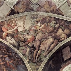 Michaelangelo's depiction of the raising up of the bronze snake, from the ceiling of the Sistine Chapel.